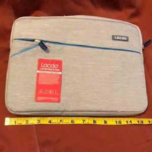 Lacdo gray heavily padded laptop bag BNWT